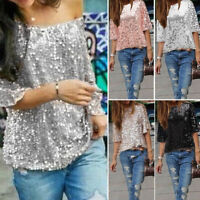 Women's Casual Sequin V Neck Blouse T-Shirt Half Sleeve Tops Clubwear Plus Size
