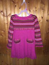 Girls BABY GAP Sz 5T Pink Fair Isle Heart Sweater Knit Dress EUC