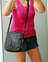 FOSSIL Black Leather Crossbody Handbag Shoulder Biker Hobo Boho Hippie Purse Bag