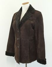 St Johns Bay Brown Suede Coat Faux Fur Lined Comfortable Warm Womens Medium M