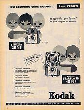 PUBLICITE ADVERTISING 114 1960 KODAK Appareil Starlet 28NF, Starflash 48NF