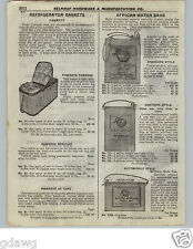1922 PAPER AD South African Water Bag Bags Appell's Sanitary Hawkeye Basket