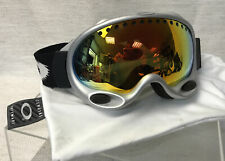 Oakley A Frame Ski/ Snowboard Silver Frame Goggles With Cleaning Bag