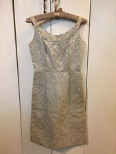 Vintage 1950's Cream & Gold Jacquard Cocktail Dress w/Hand-stitched Beading - S