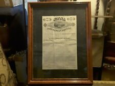 1881 Framed Aetna Insurance Policy Signed Decor Historical Collectible
