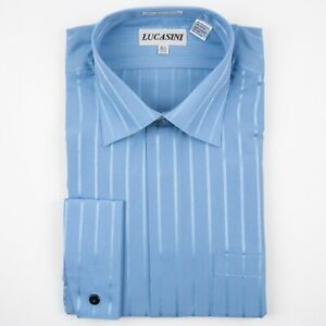 Sky Blue with Satin Stripes & French Cuffs Spread Point Shirt by Lucasini