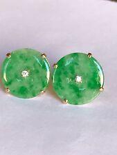 Estate Apple Green Jade And Diamonds In 14k Gold Earrings