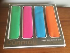 4 x 1960's Retro Dunmoy Boxed Napkins/Serviettes - Green/Pink/Blue/Orange- (u/s)