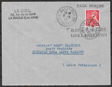 St.Nazaire covers 1945 LIBERATION on 30c Taxe Percu cover Batz sur Mer
