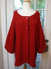 Chico's Red Button Up 3/4 Sleeve Acrylic&Wool Sweater Jacket *Women Chico's 3*