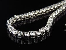 Mens White Gold Finish Sterling Silver Lab Diamond 1 Row Chain Necklace 3MM 17""