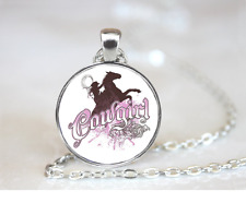 Cowgirl  PENDANT NECKLACE Chain Glass Tibet Silver Jewellery