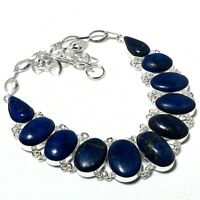 "Lapis Lazuli Gemstone Handmade 925 Sterling Silver Jewelry Ethnic Necklace 18"""