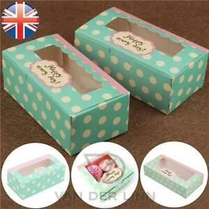 Mini Cupcake Boxes Polka Dots Windowed Cupcake Boxes for 2, 4, 6 Cup Cakes