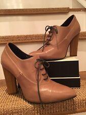 Fiona McGuinness ~ Tan Leather LaceUp Shoes Striated Wood Triangle Heel EU39 UK6