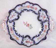 Antique Flow Blue Cake Plate Dessert Tazza Wildflowers Handles PATTERN HELP