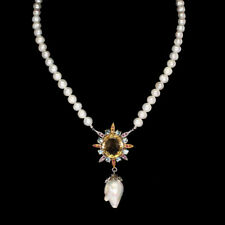 REAL Oval 15.8ct Citrine Ruby Bl. Zircon BAROQUE,WHITE Pearl 925 Silver Necklace