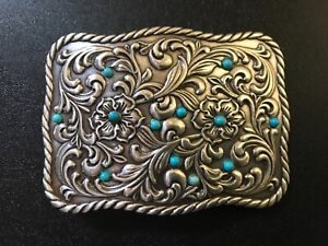 Floral,tooled,unisex,Western,cowboy,rodeo belt buckle. Antique nickel.turquoise