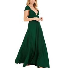 V Neck Bridesmaid Strappy Party Prom Ball Gown Womens Dress Sz 12 Green L
