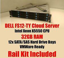DELL FS12-TY Intel cloud storage server 32GB X5550, Rails, VMWare Ready