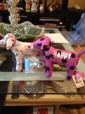 2 Victoria's Secret PINK Stuffed Dogs Purple HAPPY & White I LOVE FRENCH KISSING