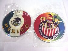 2 Club Deportivo Guadalajara Rear Car Mirror Disc 'CD' Mexico Flag Futbol Soccer