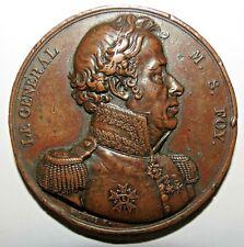 1825 Rare médaille de Bronze Au Général M S FOY
