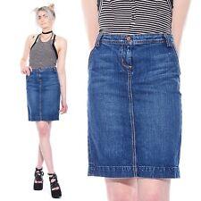 Vtg J CREW Dark Denim Schoolgirl Grunge 90s Jean Straight Pencil Wiggle Skirt S