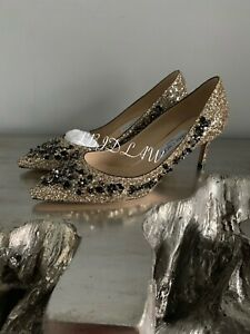 Jimmy Choo Romy 60 Shoes Gold Glitter Black Floral Embroidery Sequin Heels Pumps