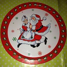 Vintage Retro Santa & Mrs Clause Serving Dinner XMAS Tray Father Christmas -RARE