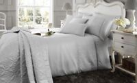 Grey Duvet Cover Set Juliette Matching Quilted Throw & Boudoir Cushion Available