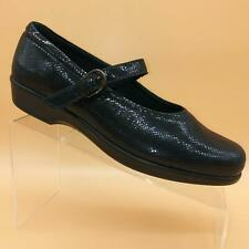 SAS Maria Black Leather Snake Print  Mary Jane Loafer Shoes Womens 9.5 W Comfort