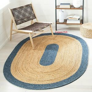 Oval Rug 100% Natural Jute braided Style Kitchen Rug living Home Decor carpet