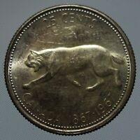 1967 Canada lynx quarter 80% silver 25 cent coin