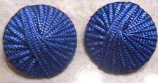 boucles d'oreilles clips bijou vintage chapeau chinois bleu galon 2209