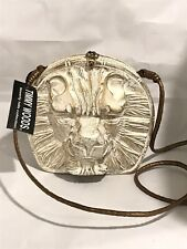 Vintage Timmy Woods Designer Artisan White Gold Lion Head Bag Purse Versace