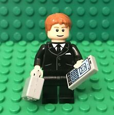 Lego Mini Figure With Black Suit,tie,Light Flesh Head,Hands,Suitcase,Smartphone