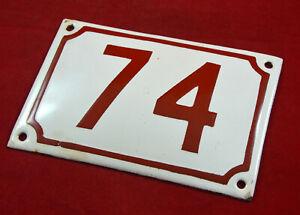 Antique Vintage German Enamel Porcelain house number sign #74 Rare