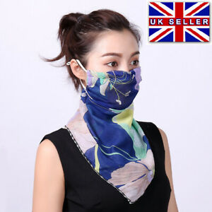 LADIES FLORAL FACE MOUTH COVER MASK CHIFFON SCARF BREATHABLE PROTECTIVE BANDANA