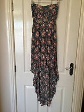 LADIES 'MISO' BLUE FLORAL ASYMMETRICAL BANDEAU DRESS. SIZE 8. GOOD CONDITION.