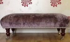 A Quality Long Footstool / Stool Laura Ashley Caitlyn Grape Soft Velvet Fabric