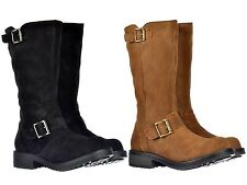 Rocket Dog Knockout Womens Suede Leather Biker Boot Tan UK 4 Pass.knockout