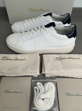 Santoni Leather Sneakers White Leather Size 9 UK 43 EU Brand New Boxed
