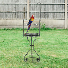72'' Movable Bird Perch Stand with Stainless Steel Tray Bowls Toy Hook Rolling