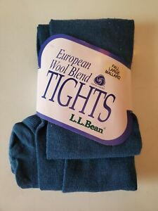 L.L. Bean European Wool Blend Footed Tights Large Unisex Blue