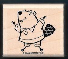 BEAVER Yea CELEBRATE HIP HOORAY Animal Fun Stampin' Up! wood mount RUBBER STAMP