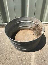 Vintage Galvanized Steel Round Wash Tub Bucket Garden Flower Planter Farmhouse