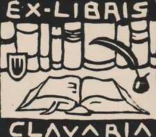Clavaria.  Ex-Libris  Books Quill  Bookplate   Ri.671