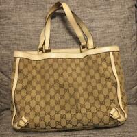 Auth Gucci Shoulder bag Tote GG Canvas Leather Monogram USED Beige Purse G0440