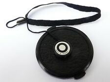 Used 49mm Lens Front Cap Black snap-on type plastic with strap Korea